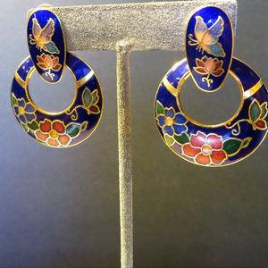 Jewelry - enamel butterfly vintage boho pierced earrings
